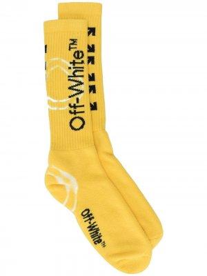 Жаккардовые носки с принтом тай-дай Off-White. Цвет: желтый