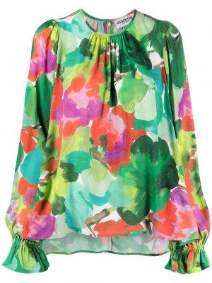 Блузка с абстрактным принтом и сборками Essentiel Antwerp. Цвет: зеленый