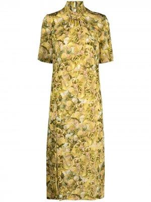 Платье с короткими рукавами и принтом Baum Und Pferdgarten. Цвет: желтый