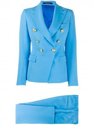 Костюм-двойка с двубортным пиджаком Tagliatore. Цвет: синий