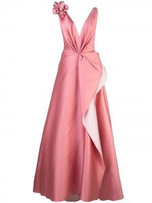 Вечернее платье с цветочной аппликацией Marchesa. Цвет: розовый