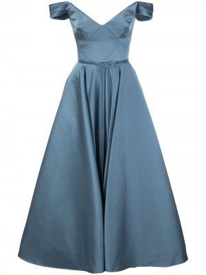 Расклешенное платье с открытыми плечами Marchesa Notte. Цвет: синий