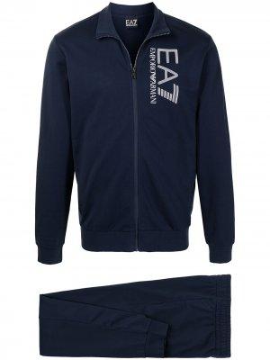 Спортивный костюм с логотипом Ea7 Emporio Armani. Цвет: синий