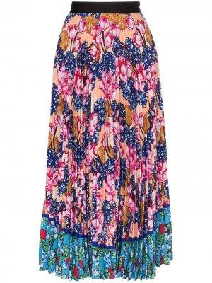 Плиссированная юбка миди с цветочным принтом Mary Katrantzou. Цвет: розовый
