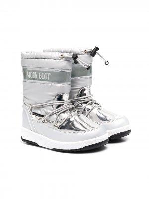 Сапоги луноходы Moon Boot Kids. Цвет: серебристый