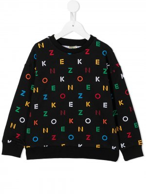 Colour-blocked logo lettering sweatshirt Kenzo Kids. Цвет: черный