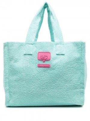 Фактурная сумка-тоут Chiara Ferragni. Цвет: зеленый