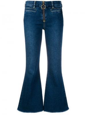 Укороченные джинсы клеш Mih Jeans. Цвет: синий