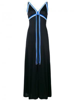 Платье макси с контрастной отделкой Louis Feraud Vintage. Цвет: черный