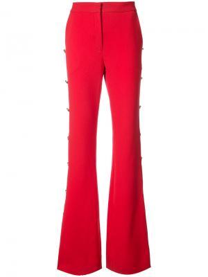 Декорированные слегка расклешенные брюки Prabal Gurung. Цвет: красный