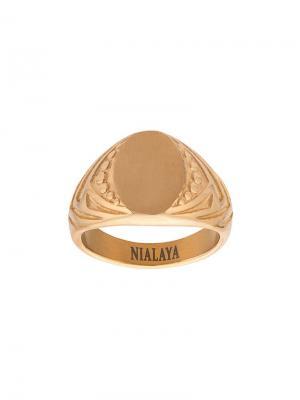 Перстень с декоративной гравировкой Nialaya Jewelry. Цвет: желтый