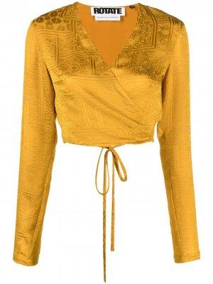 Жаккардовая блузка с цветочным узором ROTATE. Цвет: желтый