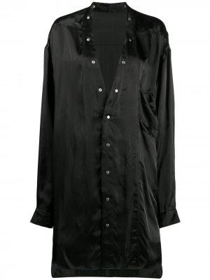 Длинная рубашка без воротника Rick Owens. Цвет: черный