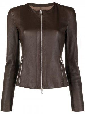Приталенная куртка на молнии Drome. Цвет: коричневый
