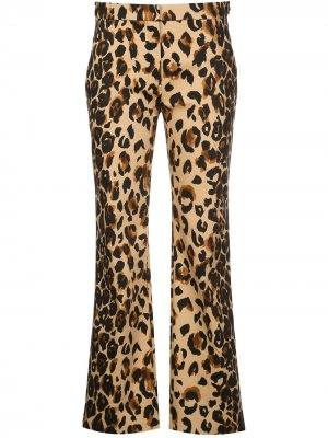 Прямые брюки с леопардовым принтом Mugler. Цвет: коричневый