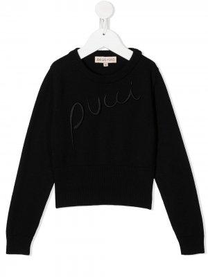 Джемпер с вышитым логотипом Emilio Pucci Junior. Цвет: черный