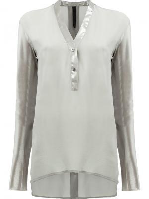 Блузка на пуговицах с V-образным вырезом Ilaria Nistri. Цвет: серый
