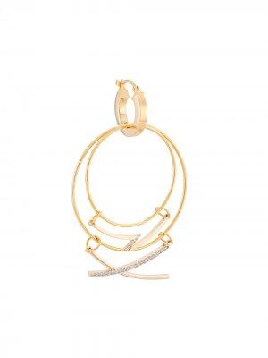 Серьга-кольцо с подвеской Mounser. Цвет: золотистый