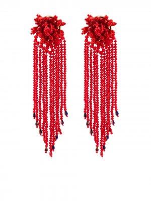 Серьги-подвески с бусинами MaryJane Claverol. Цвет: красный