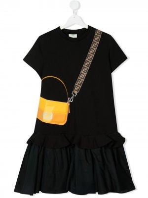 Платье с принтом Fendi Kids. Цвет: черный