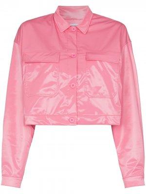 Укороченная глянцевая куртка Maisie Wilen. Цвет: розовый