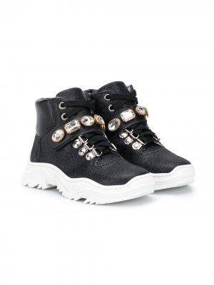 Декорированные ботинки Monnalisa. Цвет: черный