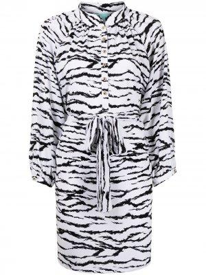 Платье-рубашка Amy с тигровым принтом Melissa Odabash. Цвет: белый
