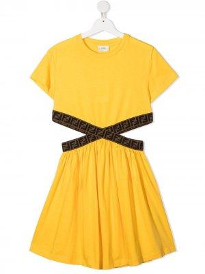 Платье с вырезами Fendi Kids. Цвет: желтый