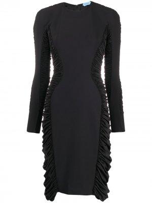 Платье со сборками Mugler. Цвет: черный