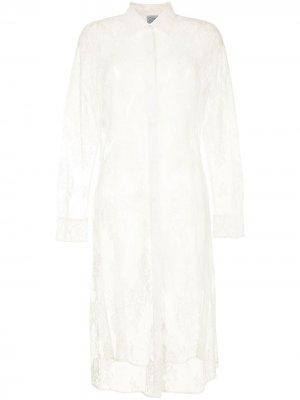 Кружевное платье миди Carine Gilson. Цвет: белый