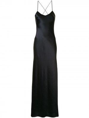 Длинное платье со стразами Michelle Mason. Цвет: черный