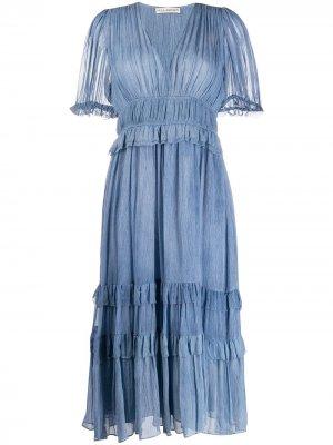 Платье миди Elodie с жатым эффектом Ulla Johnson. Цвет: синий