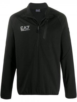 Пуловер с логотипом Ea7 Emporio Armani. Цвет: черный