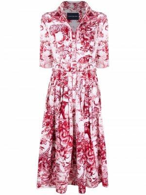 Платье-рубашка Audrey с графичным принтом Samantha Sung. Цвет: красный