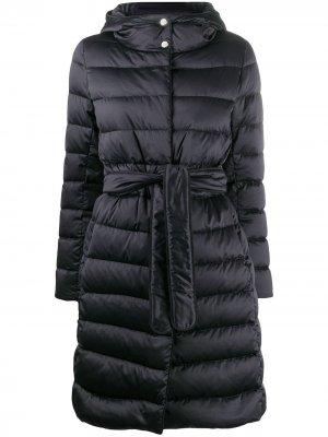 Дутое пальто с поясом Herno. Цвет: синий