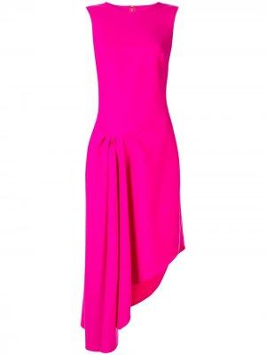 Коктейльное платье асимметричного кроя Oscar de la Renta. Цвет: розовый