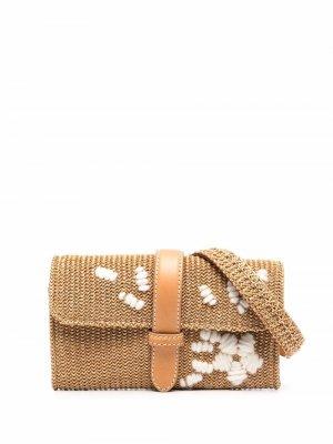 Поясная сумка с вышивкой Ermanno Scervino. Цвет: нейтральные цвета