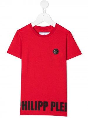 Футболка с логотипом Philipp Plein Junior. Цвет: красный
