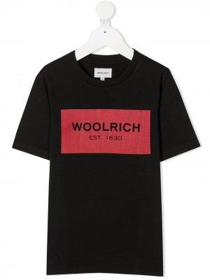Футболка с логотипом Woolrich Kids. Цвет: черный