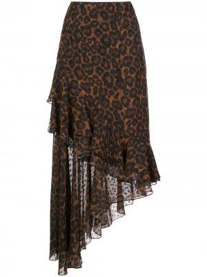 Юбка Antoniette с леопардовым принтом Erdem. Цвет: коричневый