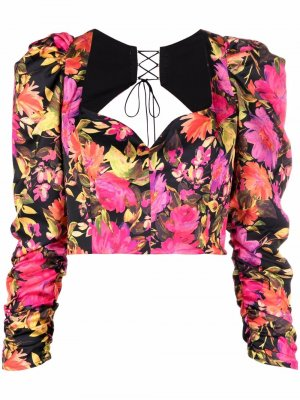 Укороченная блузка Dakota с цветочным принтом For Love And Lemons. Цвет: черный