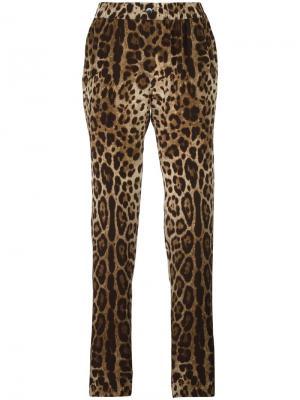 Пижамные брюки с леопардовым узором Dolce & Gabbana. Цвет: коричневый