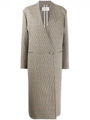 Клетчатое пальто Ports 1961. Цвет: коричневый