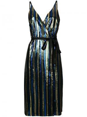 Платье миди с отделкой пайетками Robert Rodriguez. Цвет: зеленый
