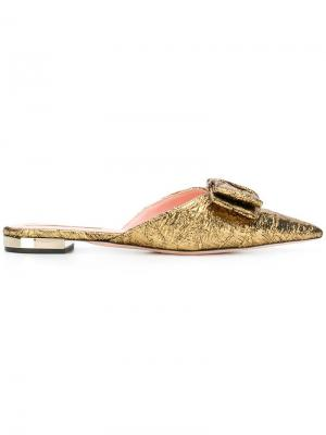 Party bow slippers Rochas. Цвет: металлик