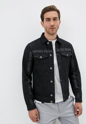 Куртка джинсовая Emporio Armani. Цвет: черный