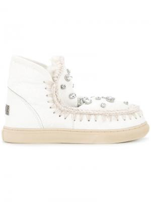 Декорированные ботинки Eskimo в спортивном стиле Mou. Цвет: белый