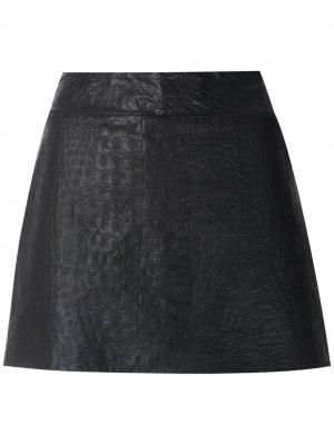 Кожаная юбка-шорты Andrea Bogosian. Цвет: черный