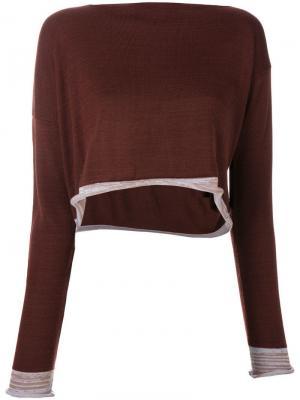 Вязаная блузка асимметричного кроя Comme Des Garçons Pre-Owned. Цвет: коричневый