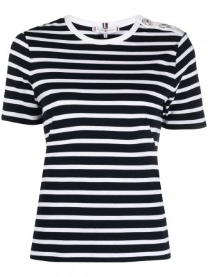 Полосатая футболка с короткими рукавами Tommy Hilfiger. Цвет: синий